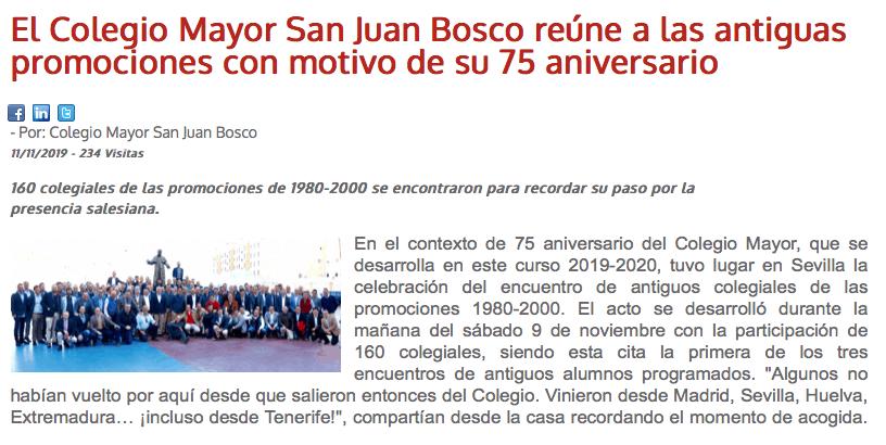 El Colegio Mayor San Juan Bosco reúne a las antiguas promociones con motivo de su 75 aniversario