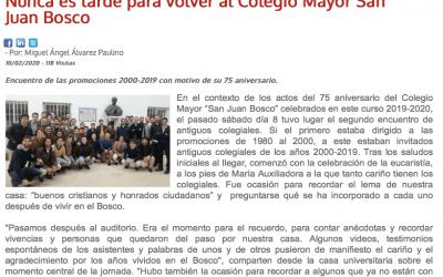 Nunca es tarde para volver al Colegio Mayor San Juan Bosco