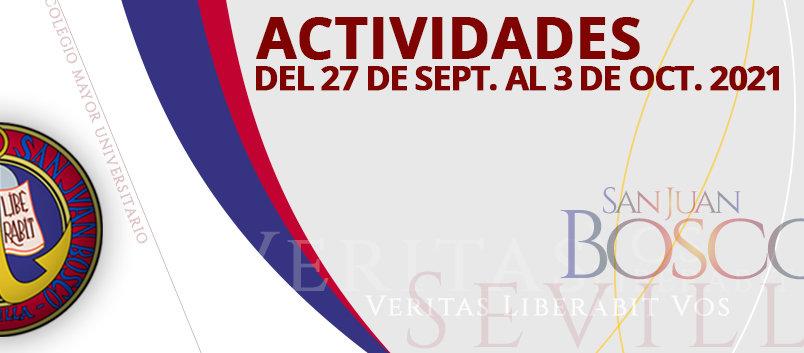 Actividades del 27 de sept. al 3 de octubre 2021
